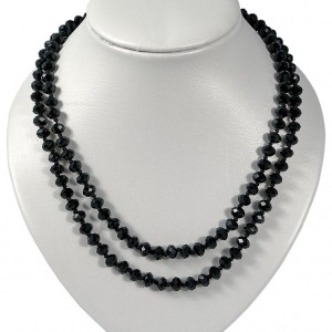 Necklace black crystal bead