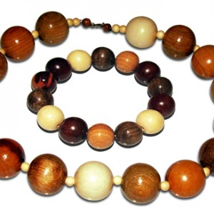Neckace + Bracelet made from wooden balls